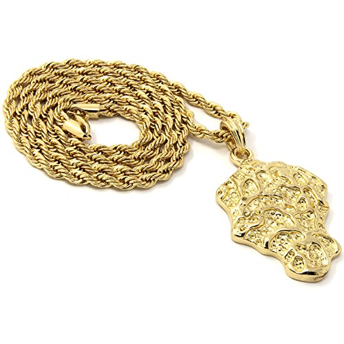 Mens Hip Hop Gold Plated Nugget Chunk Piece Pendant 24