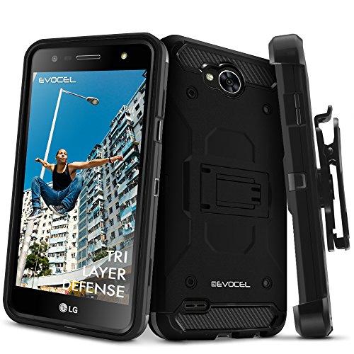 LG X Power 2 / LG X Charge/LG Fiesta 2 / LG Fiesta LTE Case, Evocel [Trio Pro Series] Textured Body, Multiple Layers, Kickstand for Model No M327 / L63BL / L64VL / US701, Black