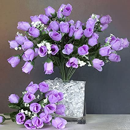Amazon balsacircle 360 lavender mini silk roses buds 24 balsacircle 360 lavender mini silk roses buds 24 bushes artificial flowers wedding party centerpieces mightylinksfo