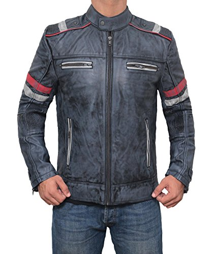 Genuine Motorcycle Jacket Mens - Genuine Cafe Racer Premium Mens Leather Jacket