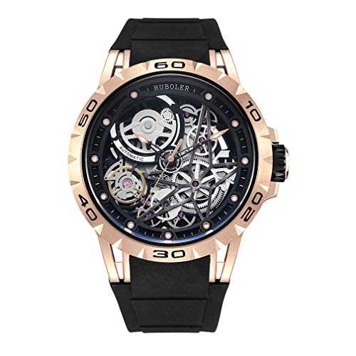 - Huboler Men's Watch Skeleton Automatic Mechanical Stainless Steel Wrist Watches (Gold Black)