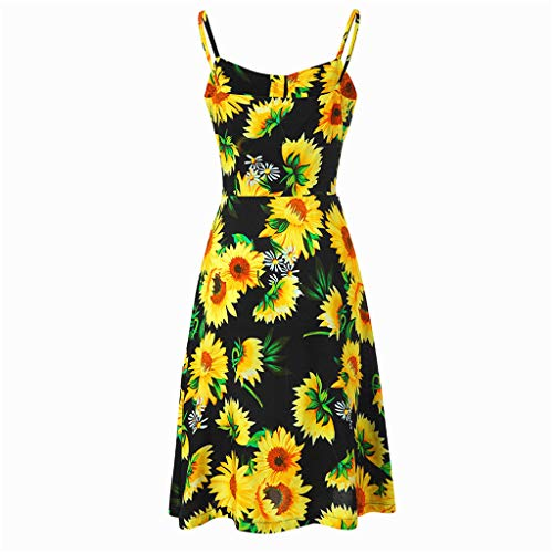 miqiqism 2019 Women Boho Midi Dresses Summer Bohemian Floral Print Spaghetti Strap Sundress Button up Swing Dress with Pockets (Black, S) by miqiqism (Image #3)