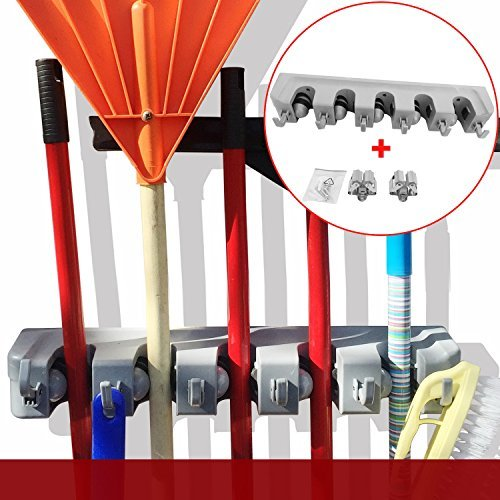 DOKO-IN Mop And Broom Holder Organizer Wall Mounted Rack Hanger Garage Storage Solutions For Garden And Cleaning Tools 2 Single Holders Included 1 Year Warranty