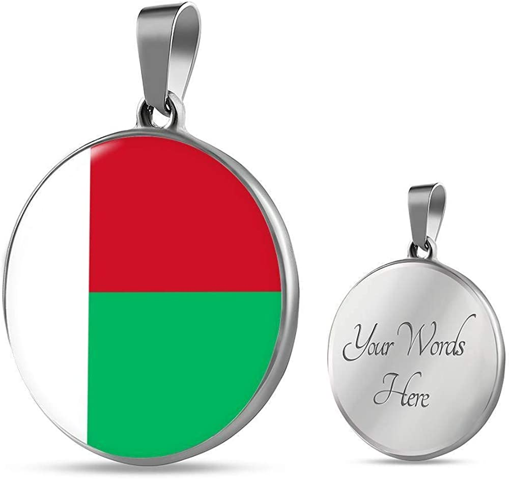 Express Your Love Gifts Madagascar Flag Necklace Madagascar Flag Stainless Steel or 18k Gold 18-22