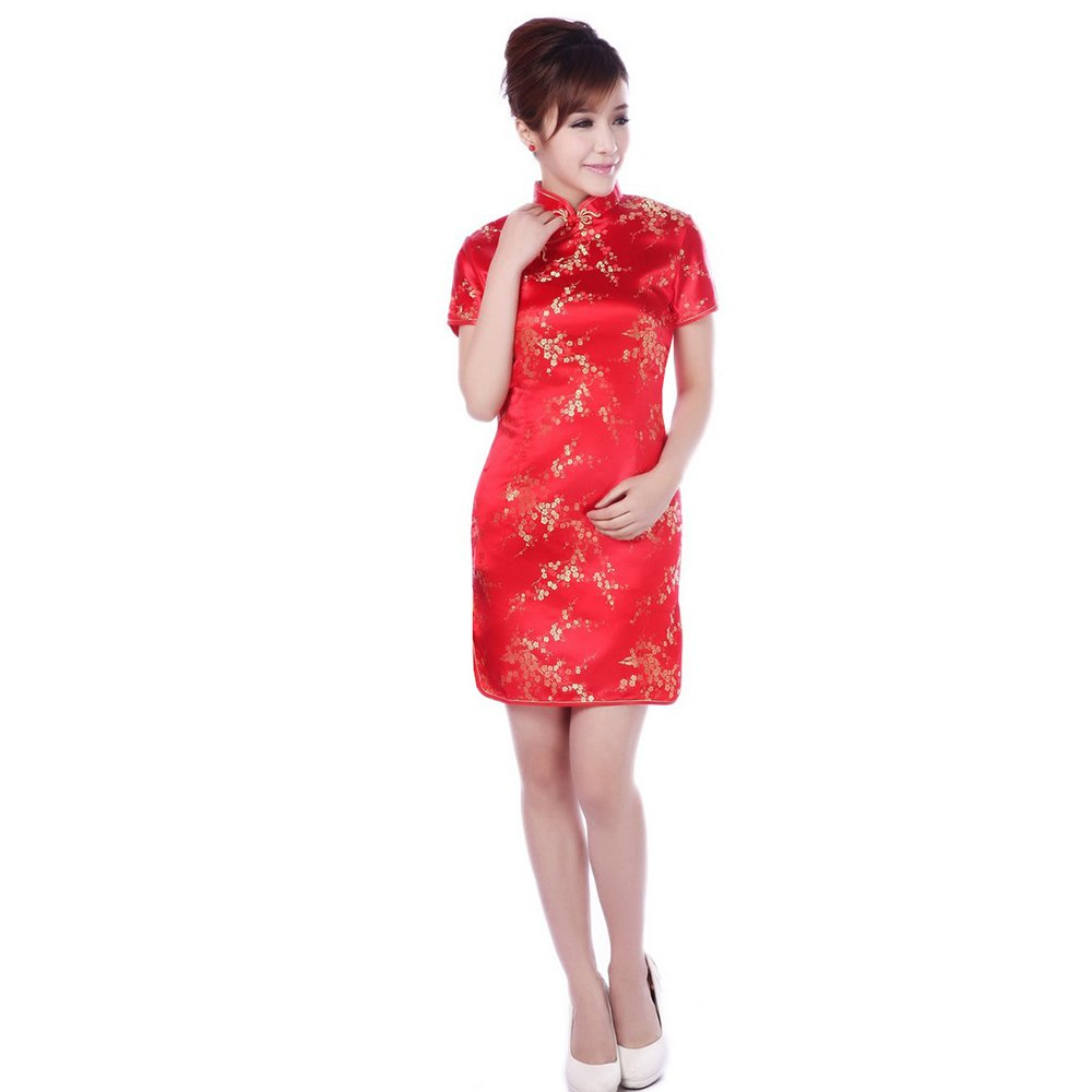 ZooBoo Chinese Cheongsam Qipao Dress - Oriental Traditional Wedding Outfit Clothing Costume for Girls Women