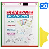 ACS Reusable Dry Erase Pockets - Oversized Pocket Charts for Classroom Large Sheet Protectors Insert 30 Sleeves with 30 Colored Wipes