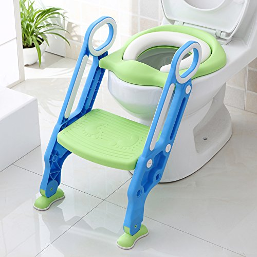 Potty Toilet Trainer Seat with Step Stool Ladder Adjustable Baby Toddler Kid Potty Toilet Seat for Boy and Girl Children's Toilet Training Seat ()