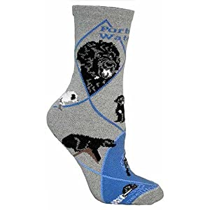 Wheel House Designs Women's Portuguese Water Dog Socks 9-11 Gray 1