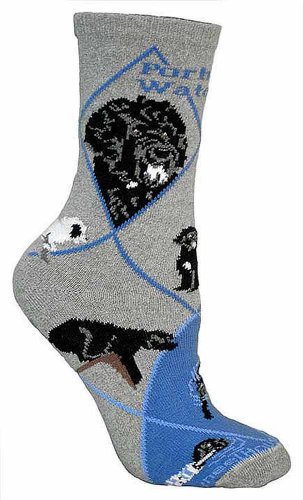 Wheel House Designs Women's Portuguese Water Dog Socks 9-11 Gray