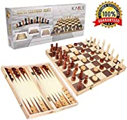 KAILE 3-in-1 Wooden Chess Set & Checkers & Backgammon Set with Folding Carrying Case Folding and Travel Chess Board for Adul