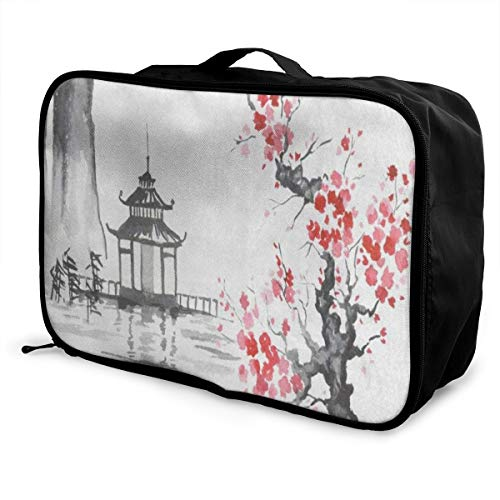 Travel Bags Traditional Japanese Oil Painting Mountain Cherry Blossom Portable Duffel Unique Trolley Handle Luggage Bag