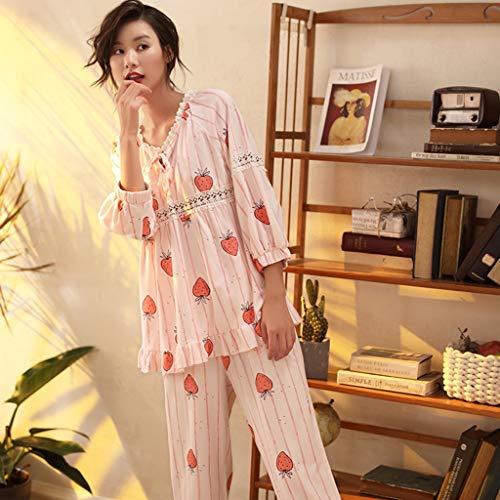 Para Mujer Suelto Fresa Estampado Ropa Dos Piezas Moda Algodón Conjunto Pink Y Casual Una El Dulce Pieza Hogar Camisones De Manga Larga Pijamas Encantador qzOwIxt