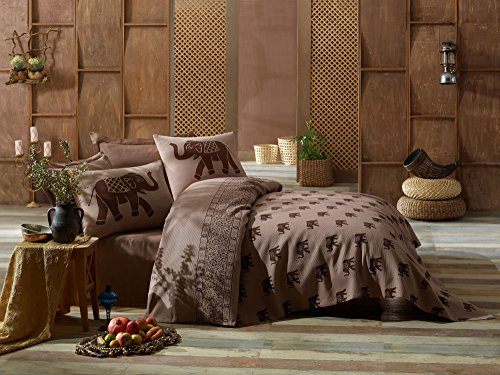 LaModaHome Luxury Soft Colored Full and Double Bedroom Bedding 100% Cotton Coverlet (Pique) Thin Coverlet Summer/Elephant Animal Safari Big Brown Background Design / by LaModaHome