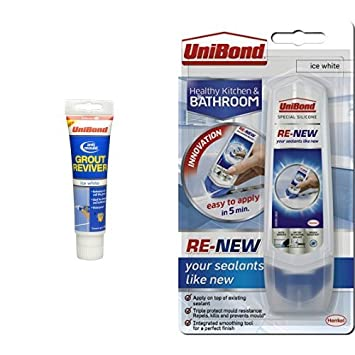 Unibond Anti-Mould Grout Reviver for Floors and Walls and Re-New Silicone Sealant bundle