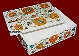 Fine Red Flower Art 7'' x 5'' x 2'' White Marble Trinket Box Cum Jewelry Box Inlay Light Multi Stones