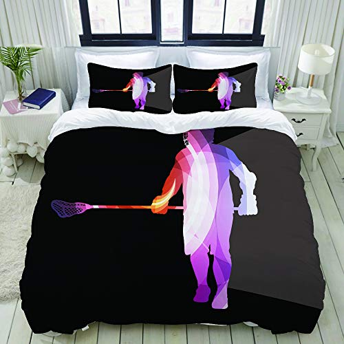 LONSANT Lacrosse Player in Protective Gear Action Man Silhouette College Dorm Room Decor Decorative Custom Design 3 PC Duvet Cover Set Twin/Twin Extra Long