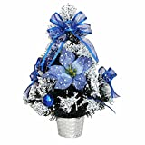 Desk Decorated Artificial Dask Mini Christmas Tree Decorated Gife Red Berries Ornaments - 16'' Tall Tabletop-Blue