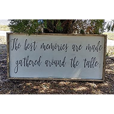 Rustic cottage style the best memories are made gathered around the table sign/kitchen dining room decor/shabby decor