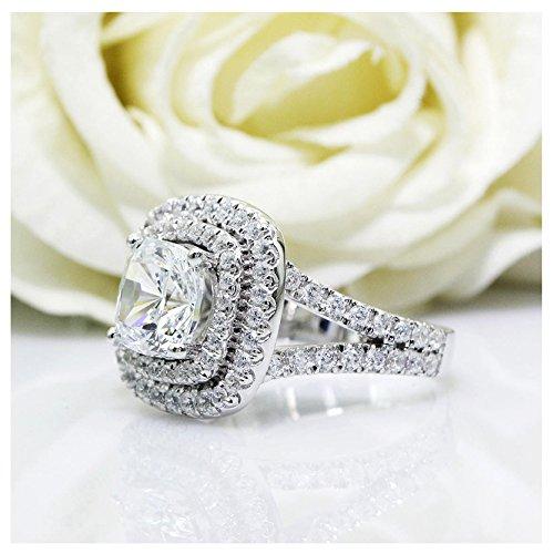 2,00 Carat VVS1 Oval nscd diamante simulado anillo de compromiso en 18 K oro