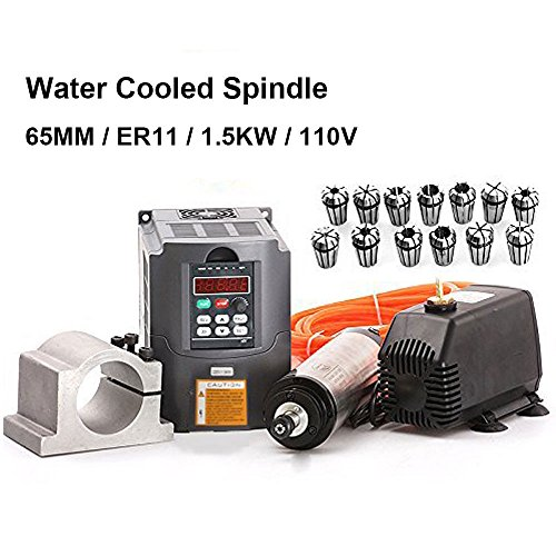 110V 1.5KW Water Cooled Spindle Motor CNC Spindle Motor +1.5KW Converter + 65MM Clamp Mount + 13pcs ER11 Collet + 5M Water Pipe + 110V Water Pump by Beauty Star