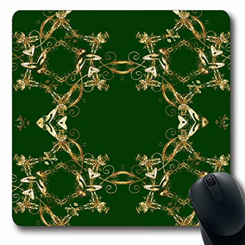 Scroll Mouse Beige Pc - LifeCO Computer Mousepad Scrolls Beige Antique Oriental Arabesques Golden Pattern On Abstract Blue Baroque Bronze Classic Oblong Shape 7.9 x 9.5 Inches Oblong Gaming Non-Slip Rubber Mouse Pad Mat