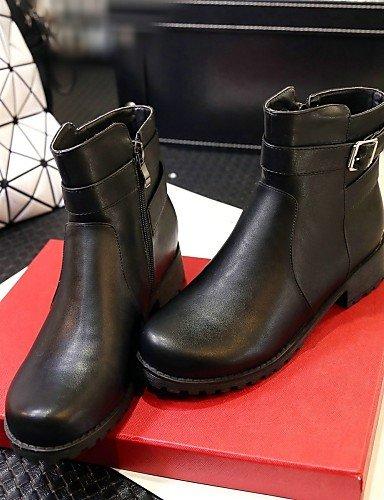 Mujer Bajo us5 Negro Casual Zapatos Black Cn43 De Eu42 Redonda Uk3 5 Cn34 Semicuero Vestido Uk8 us10 Tacón 5 Xzz Botas Botines Punta Black Eu35 ExIqFF