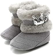 puseky Baby Girls Fleece Booties Winter Soft Warm Snow Boots Sequins Crown Non-Slip Shoes