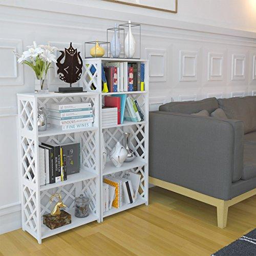 Rackaphile 4-Tier Bookcase Storage Shelf, Wood Plastic Waterproof Bookshelf Storage Organizer Shelving Unit Display Rack Book Shelf for Living Room Bathroom Office White by Rackaphile (Image #2)
