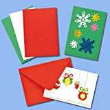 Baker Ross Festive Colours Christmas Greeting Card Blanks for Children to Decorate and Embellish Craft Activities (Pack of 12)