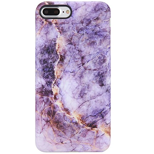 iPhone 7 Plus Case for Girls, iPhone 8 Plus Case for Women,VIVIBIN Cute Purple and Gold Marble,Clear Bumper Soft Silicone Rubber Matte TPU Best Protective Cover Slim Fit Phone Case for iPhone 7/8 Plus