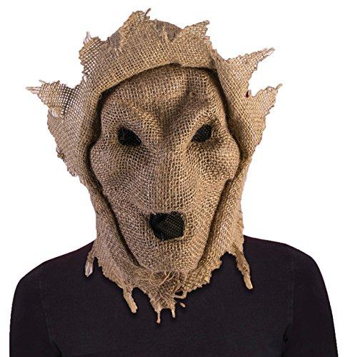 Forum Novelties Burlap Evil Skull Scarecrow Hooded Mask Scare Crow Halloween Costume Accessory -