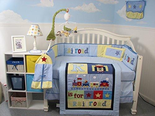 SoHo Baby Crib Bedding 10Pc Set, Railroad