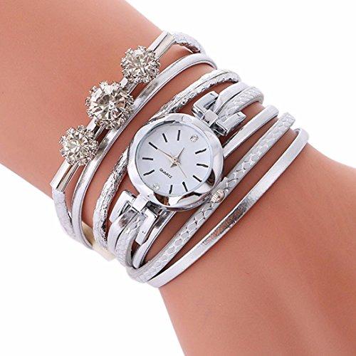 Jaylove Clearance Sale Rhinestone Bracelet Watch Diamond Circle Watch Student Fashion Wrist Watches (White) (Bangle Bracelet Watch Quartz)