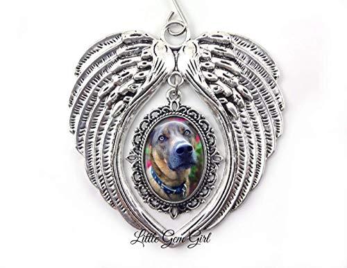 - Custom Pet Photo Memorial Christmas Tree Ornament Angel Wings - Personalized Picture Keepsake