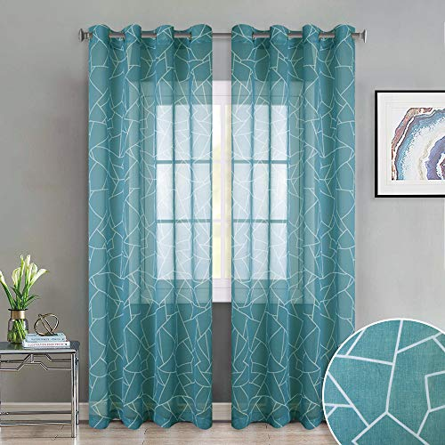 KGORGE Country Style Pattern Curtains Teal Printed Creative Glass Cullet Pattern with Grommet Top Semi Voile Drape Sheer Panels for Sliding Glass Door, W52 x L95, 2 Pcs
