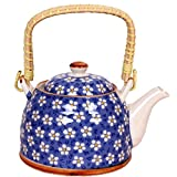 Purpledip Beautifully Painted Ceramic Kettle 1 litre, Steel Strainer Included (10146)
