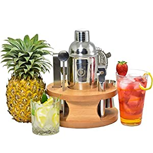 Cocktail Shaker 8 Piece Set - Large 24oz Stainless Steel Martini Mixer | Strainer, Double Jigger, Mixing Spoon, Fruit Zester, Twister Maker, Bottle Opener, Ice Tong | Wood Drying Stand| Recipe Book