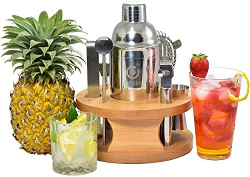 Cocktail Shaker 8 Piece Set – Complete Bartender Tool Kit 24oz Stainless Steel Martini Mixer, Strainer, Jigger, Spoon, Twister, Zester, Grater, Tong, Bottle Opener, Wood Display Stand, Recipe Book