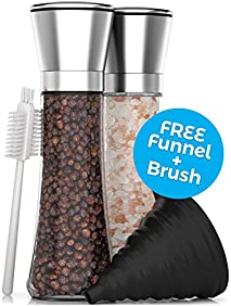 Premium Stainless Steel Salt and Pepper Grinder Set - Best Tall Adjustable Coarseness Grinders - Extra Large 6.3 ounce Capacity Mills - FREE Collapsible Funnel PLUS Cleaning Brush & Recipe eBook