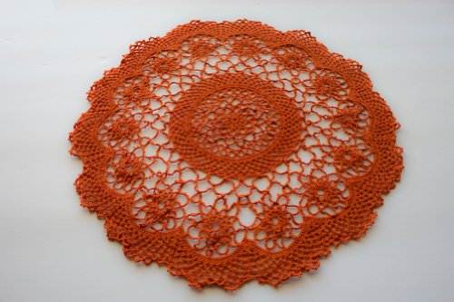Handmade Tatting Lace Floral Tray Cloths / Doilies. 100% Cotton. Pumpkin Orange Color. 14-Inch Round. Set of 2.