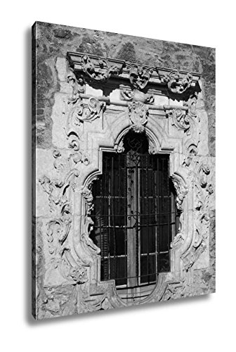 Fine Arts Mission Rose (Ashley Canvas Rose Window Mission San Jose, Wall Art Home Decor, Ready to Hang, Black/White, 20x16, AG5431066)