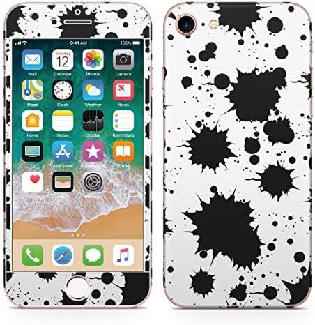 igsticker iPhone SE 2020 iPhone8 iPhone7 専用 スキンシール 全面スキンシール フル 背面 側面 正面 液晶 ステッカー 保護シール 002536 チェック・ボーダー 黒 シンプル 水玉