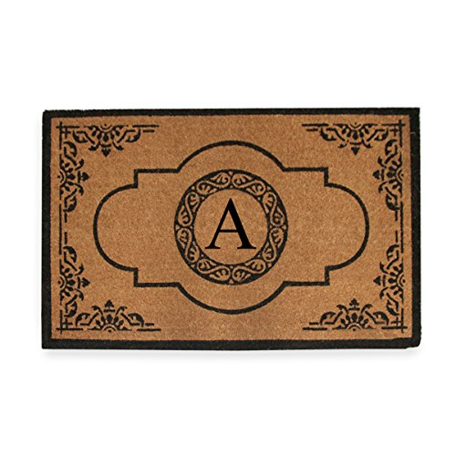 A1 Home Collections First Impression Hand Crafted Abrilina Entry Coir Monogrammed Double Doormat, 72