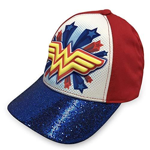 DC Comics Wonder Woman Girls 3D Baseball Cap - 100% Cotton,Blue and -