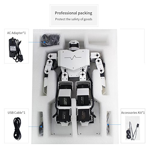 LewanSoul H3S 16DOF Biped Humanoid Robot Kit with Free APP, MP3 Module, Detailed Video Tutorial Support Sing Dance(Assembled) by LewanSoul (Image #2)