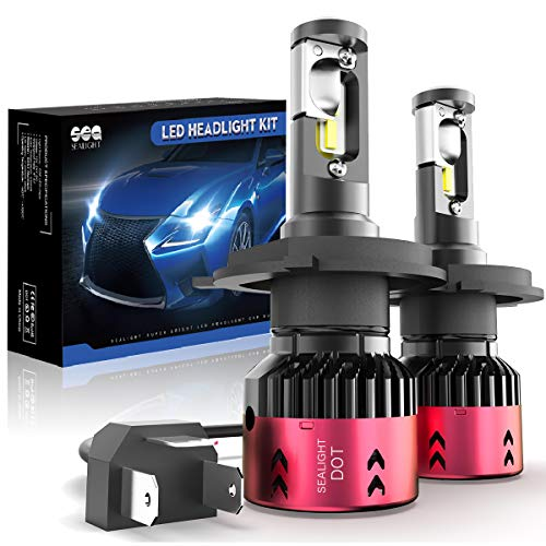 H4/9003 LED Headlight Bulbs Conversation Kit SEALIGHT HB2 Hi/Lo Beam LED Headlamp with Fan 6000K Xenon White -2 Year Warranty(2 Pack)