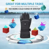Winter Warm Rechargeable Electric Battery Heated Gloves with Li-ion Battery for Men and Women,Outdoor Indoor battery powered Hand Warmer Glove Liners for Hiking Skiing Cycling Snowboarding (Black, XL)