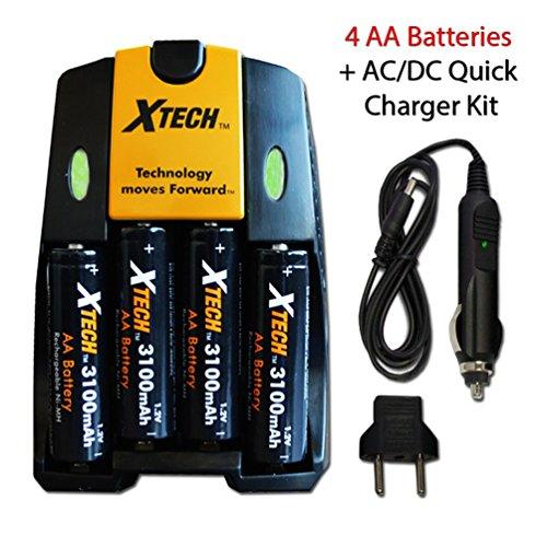 Xtech High Speed AC/DC Charger plus 4 AA NiMH 3100mAh High Capacity Rechargeable Batteries for Nikon Coolpix L840, L830, L820, L810, L620 L610, L320, L30, L28, L26 Digital ()