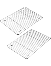 2-Pack Cooling Racks for Cooking and Baking, Stainless Steel, 10.23''x7.87'' Fits Small Quarter Sheet Pan, Oven Safe Wire Racks for Cooking, Roasting, Grilling