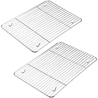 2-Pack Cooling Racks for Cooking and Baking, Stainless Steel, 10.23''x7.87'' Fits Small Quarter Sheet Pan, Oven Safe…